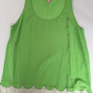 LILLY PULITZER Carlina L Green 100% Silk Tank Top